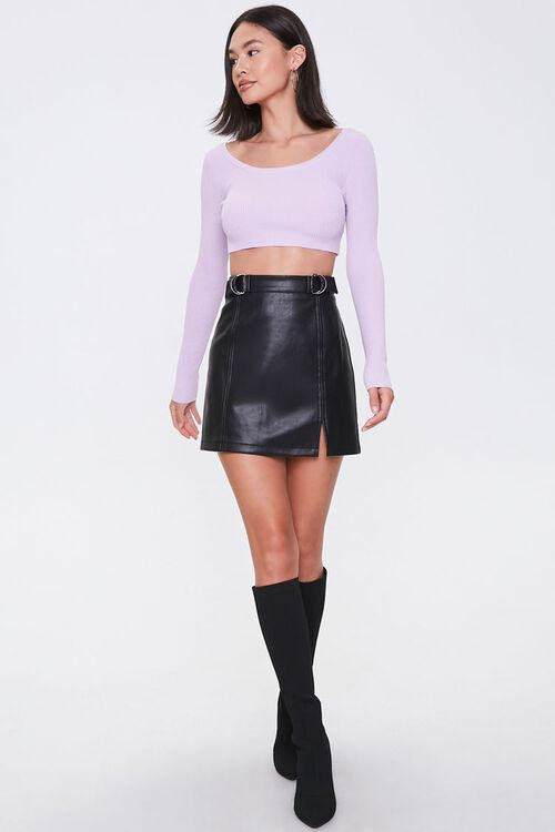 LAVENDER Cropped Sweater-Knit Top, image 4