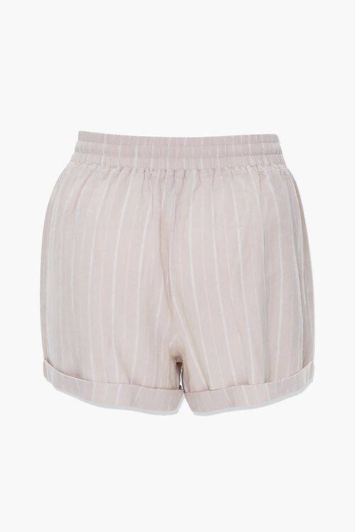 TAUPE/WHITE Plus Size Linen-Blend Striped Shorts, image 3