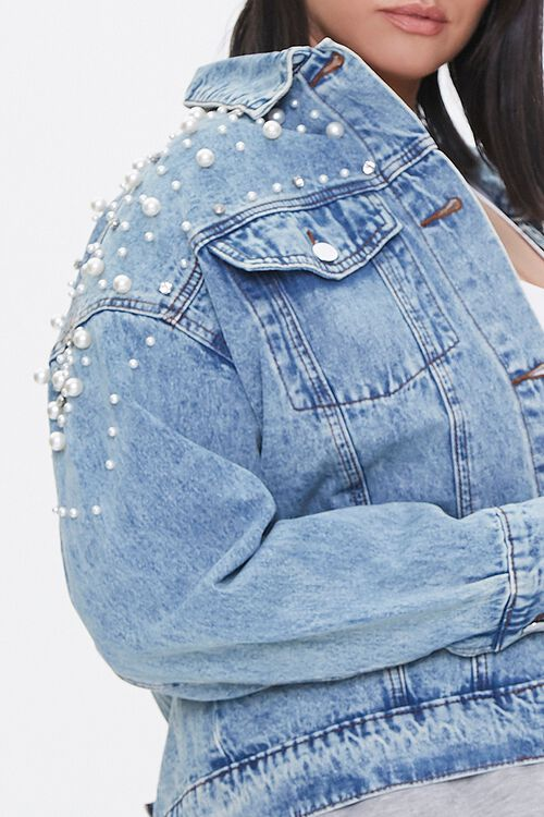 Plus Size Faux Pearl Denim Jacket, image 5