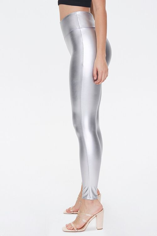 SILVER Faux Leather High-Rise Leggings, image 3