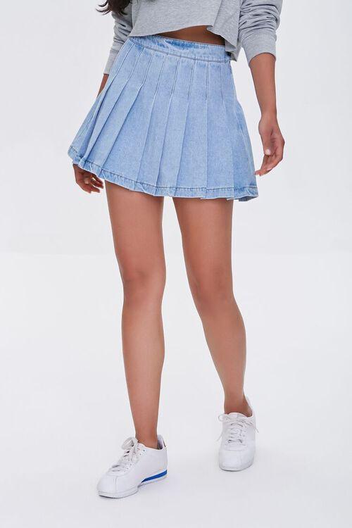 LIGHT DENIM Denim Knife Pleat Mini Skirt, image 2