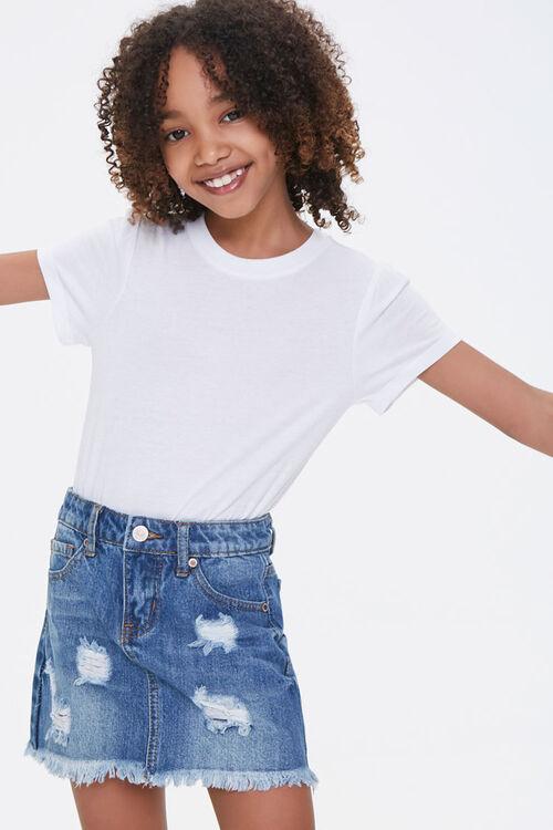 Girls Denim Frayed Skirt (Kids), image 1
