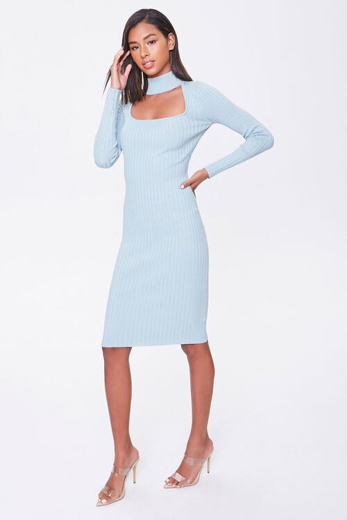 Ribbed Mock Neck Sweater Dress, image 4