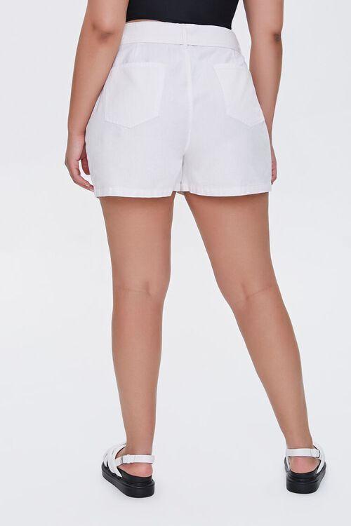 WHITE Plus Size Belted Shorts, image 4