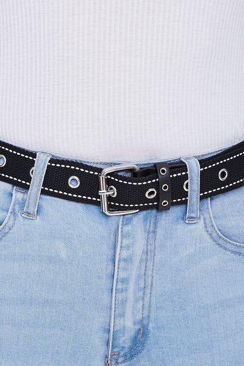 BLACK Topstitched Grosgrain Grommet Belt, image 3