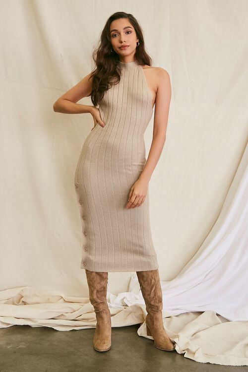 TAUPE Sweater-Knit Ribbed Halter Midi Dress, image 4