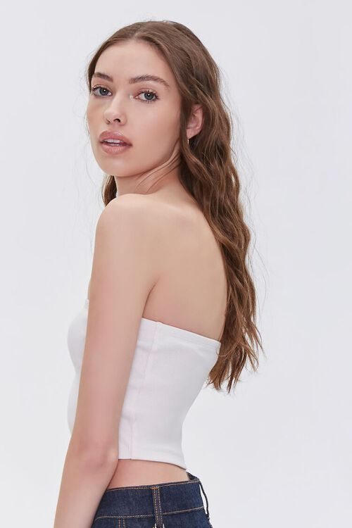 Stretch Ribbed Cropped Tube Top, image 2