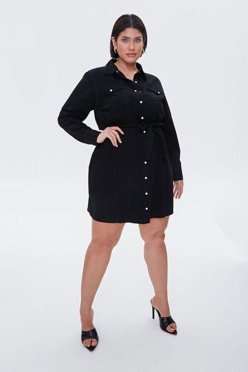 Plus Size Denim Shirt Dress, image 1