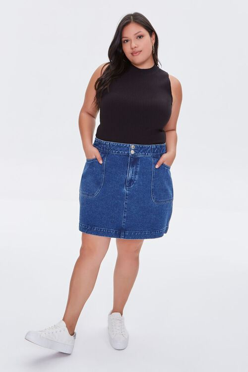Plus Size Ribbed Cropped Tank Top, image 4
