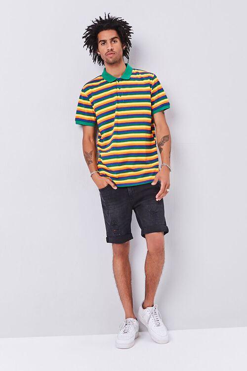 GREEN/MULTI Striped Knit Polo, image 4