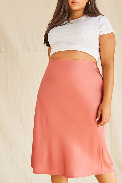 Plus Size Satin Midi Skirt, image 5