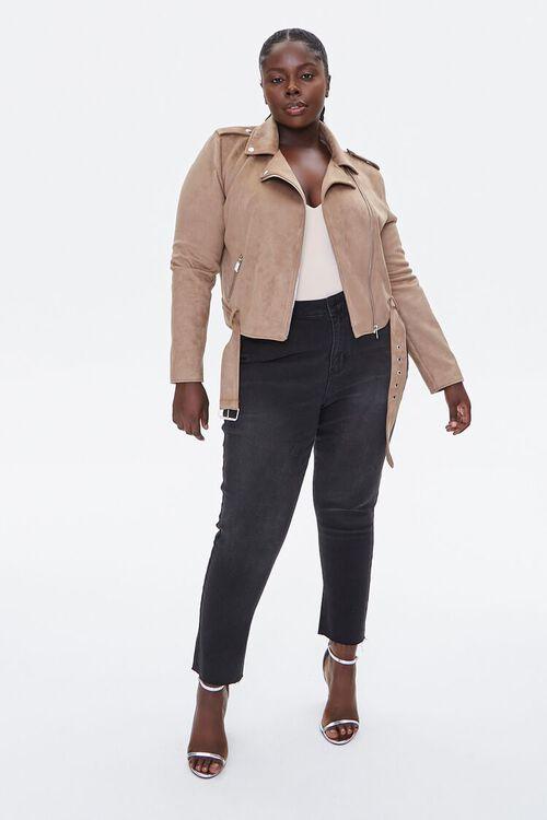 Plus Size Faux Suede Moto Jacket, image 4