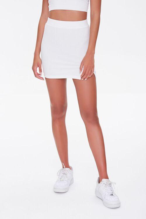 WHITE Vented Mini Skirt, image 2