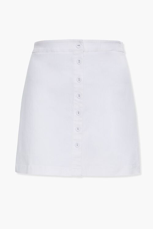 WHITE Plus Size Button-Front Denim Skirt, image 1