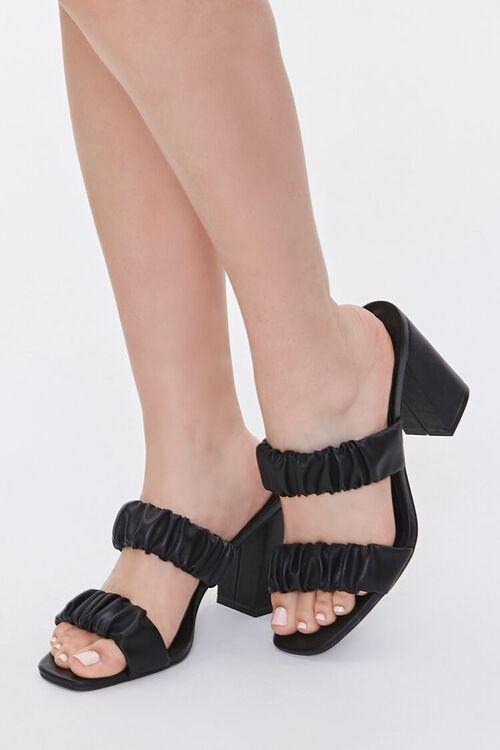 BLACK Ruched Block Heels, image 1