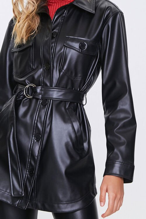 Belted Faux Leather Jacket, image 5