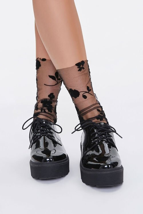Sheer Floral Crew Socks, image 4