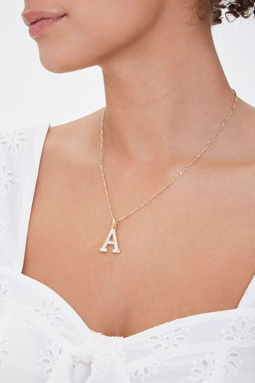 GOLD/A Initial Pendant Necklace, image 1