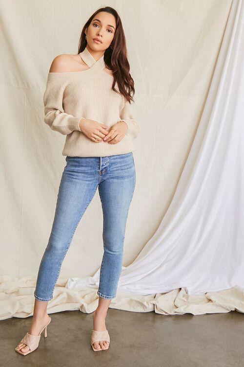 BEIGE Open-Shoulder Halter Sweater, image 4