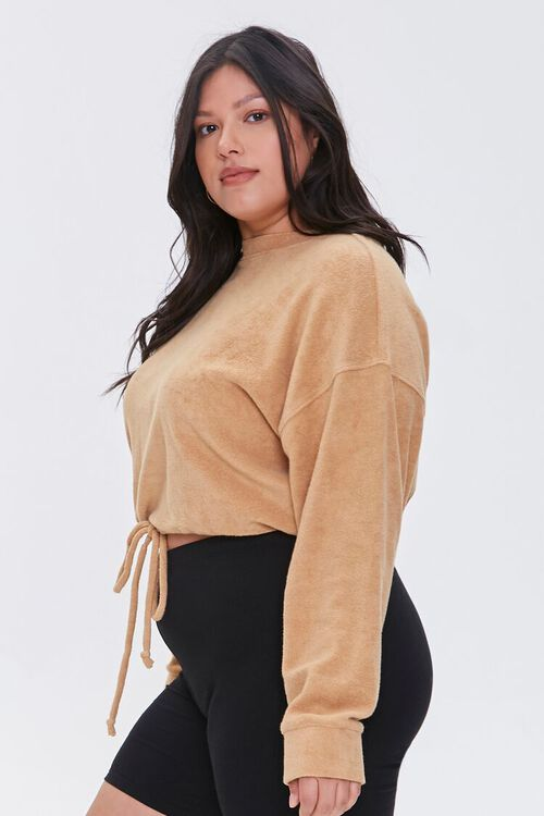 Plus Size French Terry Drawstring Pullover, image 2