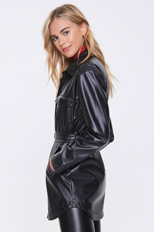 Belted Faux Leather Jacket, image 2