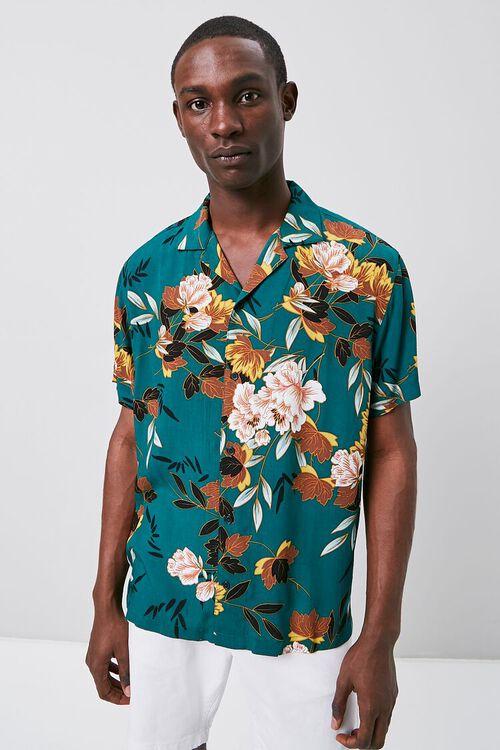 TEAL/MULTI Floral Print Cuban Shirt, image 1