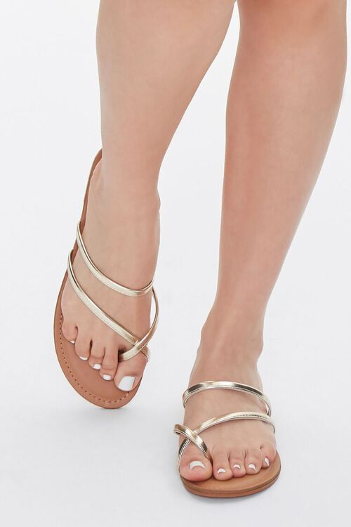 Strappy Metallic Toe Thong Sandals, image 4