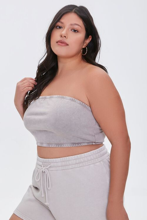 Plus Size Mineral Wash Tube Top, image 1