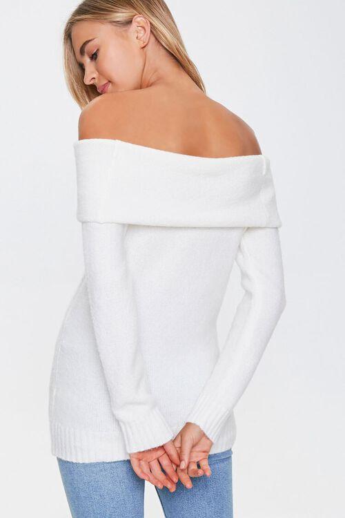 Off-the-Shoulder Ribbed Trim Sweater, image 3