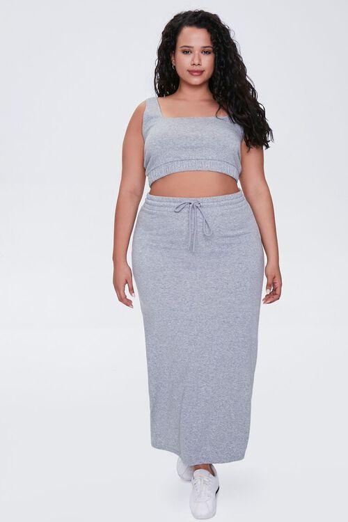 Plus Size Drawstring Midi Skirt, image 4