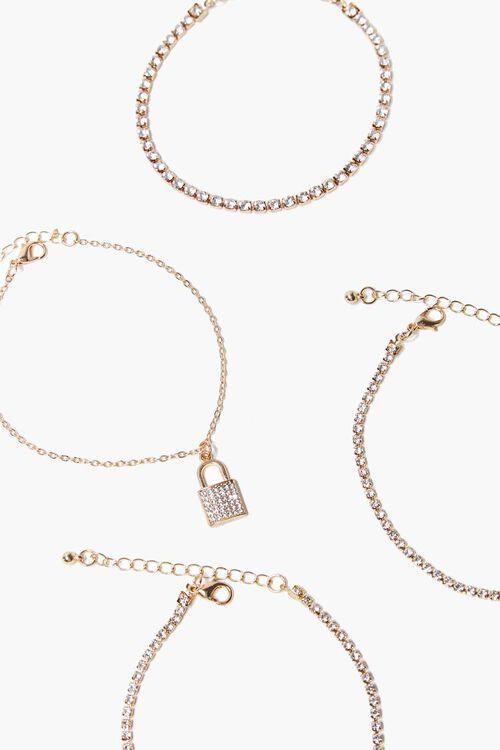 GOLD Lock Pendant Rhinestone Bracelet Set, image 2
