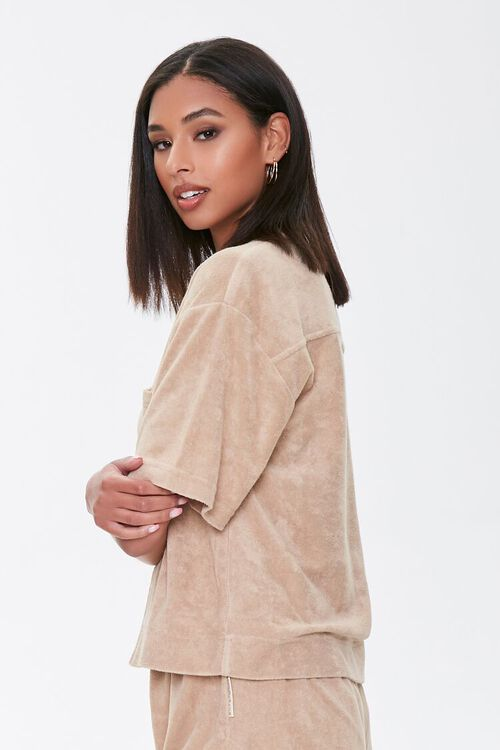 Kendall & Kylie Terrycloth Notched Shirt, image 3