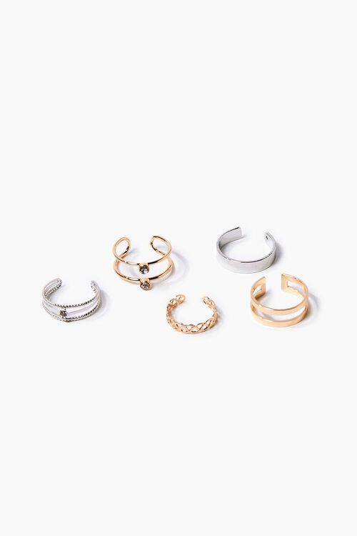 GOLD/SILVER Faux Gem Toe Ring Set, image 1