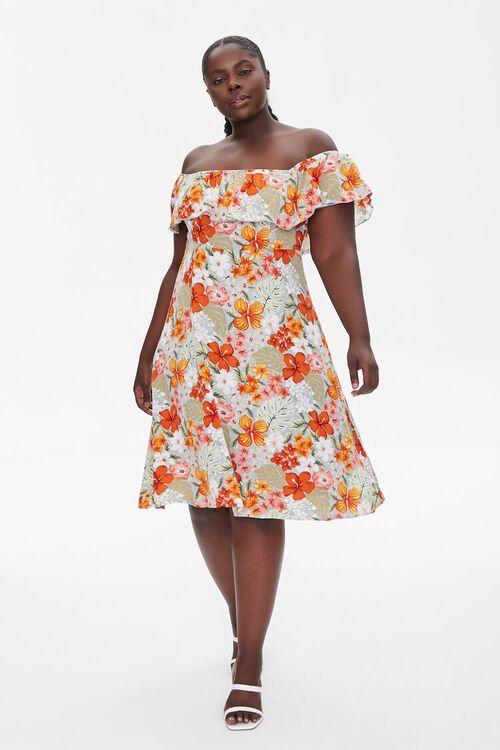 BLUE/MULTI Plus Size Floral Print Mini Dress, image 4