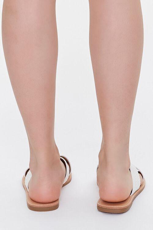 WHITE Crisscross Square-Toe Flat Sandals, image 3