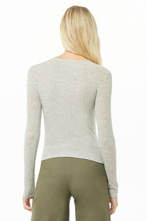 Ribbed Knit Henley Top, image 3