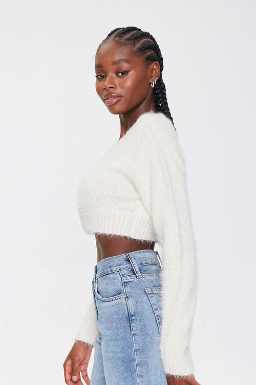 Fuzzy Cropped Cardigan Sweater, image 2