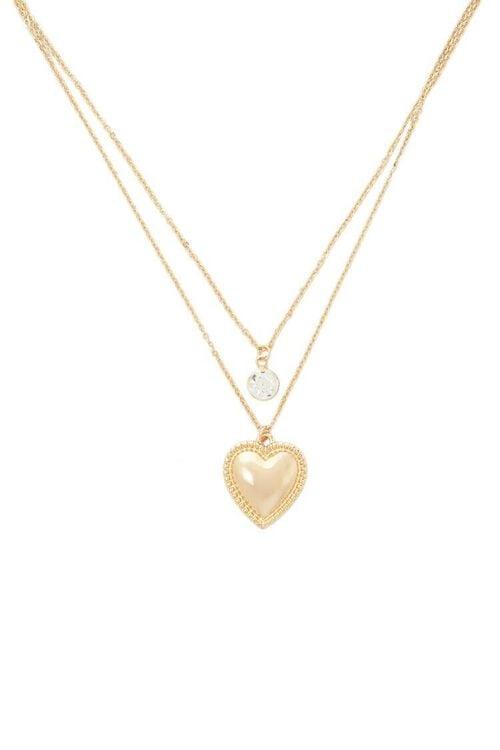 Layered Rhinestone & Heart Pendant Chain Necklace, image 1
