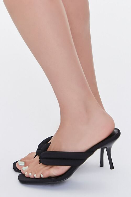 BLACK Quilted Thong-Toe Heels, image 2