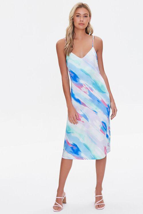 Satin Abstract Wash Slip Dress, image 4