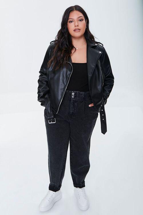 BLACK Plus Size Faux Leather Moto Jacket, image 4