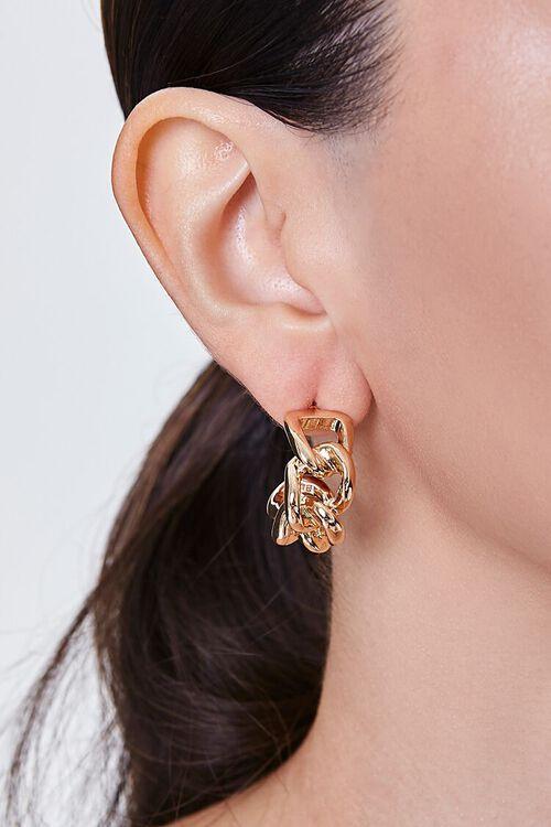 GOLD Warped Chain Hoop Earrings, image 1