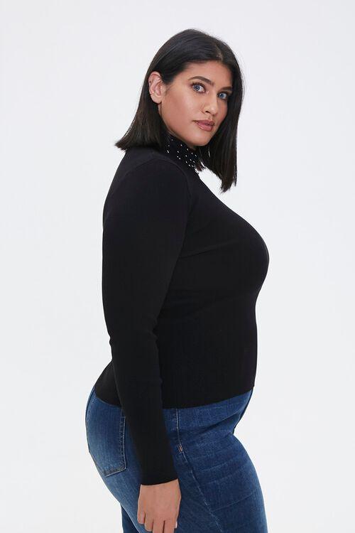 Plus Size Studded Mock Neck Sweater, image 2