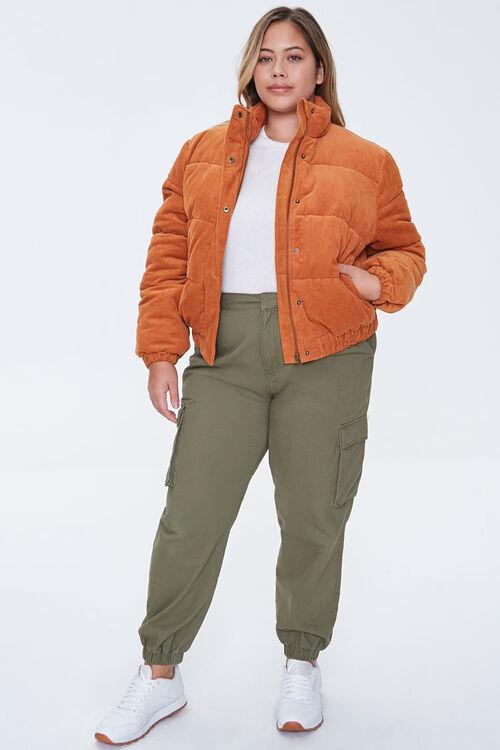 Plus Size Corduroy Puffer Jacket, image 4