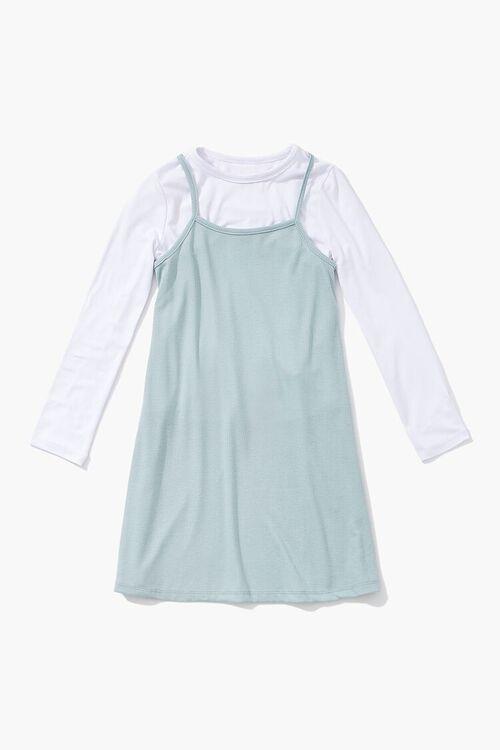 MINT/WHITE Girls A-Line Combo Dress (Kids), image 1