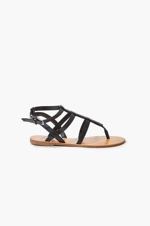 Caged Ankle-Strap Flat Sandals, image 2