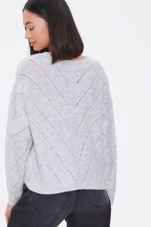 Pointelle Knit V-Neck Sweater, image 3