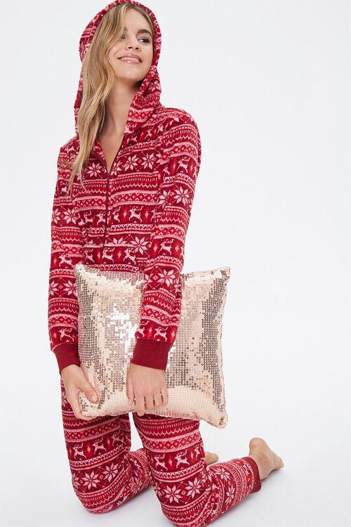 Fair Isle Hooded Pajama Jumpsuit, image 1