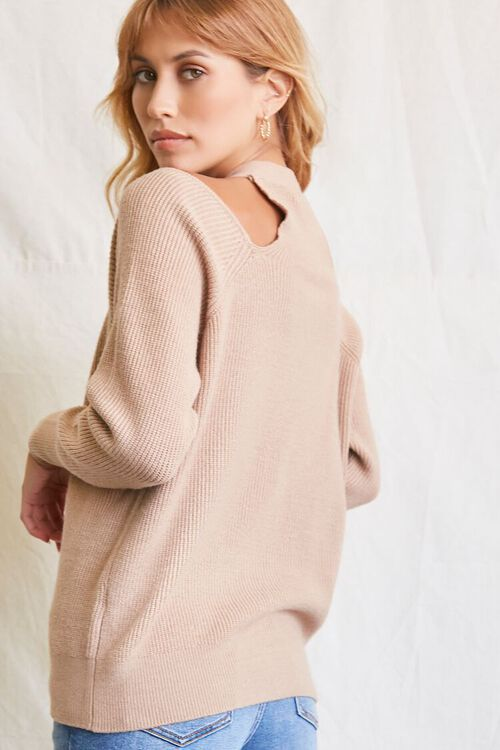TAUPE Open-Shoulder Buttoned Sweater, image 3