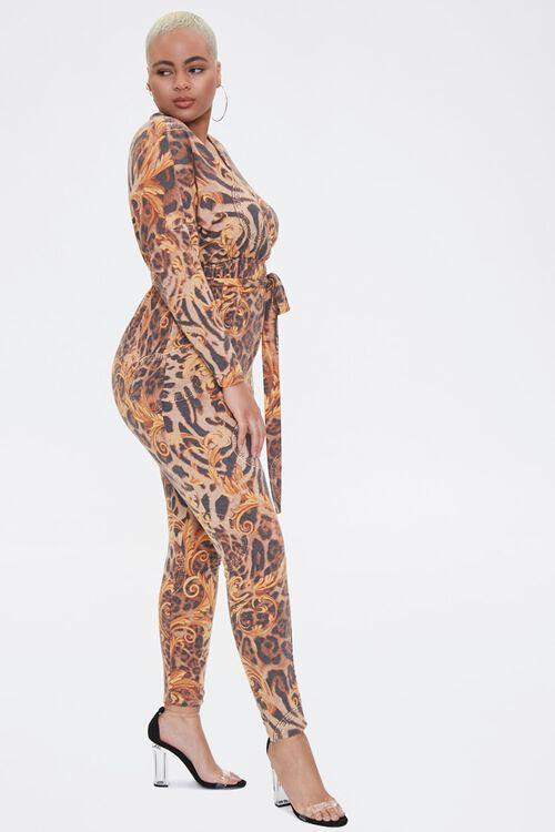 Plus Size Baroque Leopard Print Jumpsuit, image 2